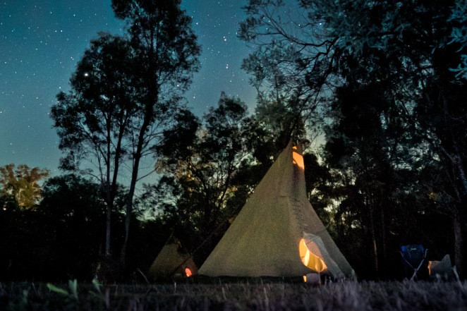 tipi at night