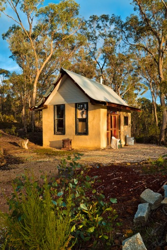 "The ""office"", a cozy little mudbrick loft hut we stayed in while at Tamsin and Toby's place"
