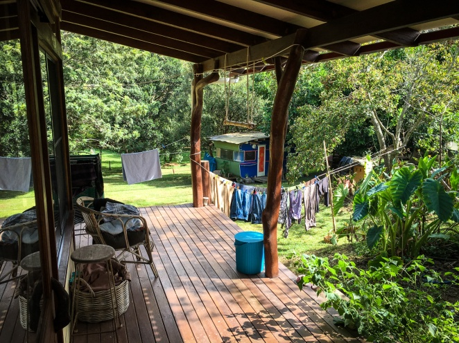 Our hosts' open-plan home, surrounded by lush rainforest